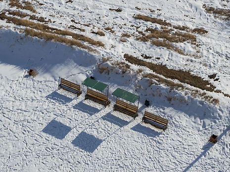 Steppe in Kyrgyzstan at Burana Tower in winter