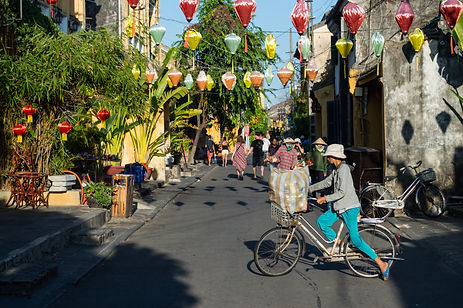 People in the historic center of Hoi An, Vietnam