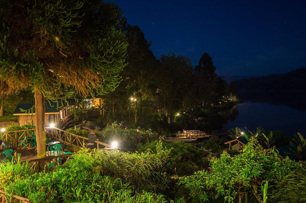 Lakeside hotel at Lake Bunyonyi in Uganda