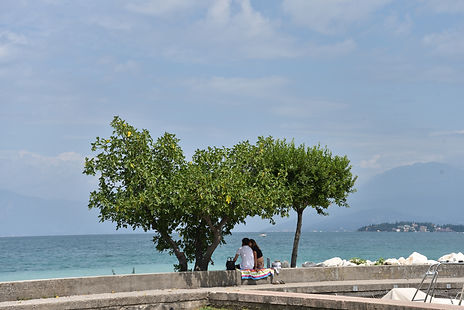 couple sitting under a tree at Lake Garda in Italy