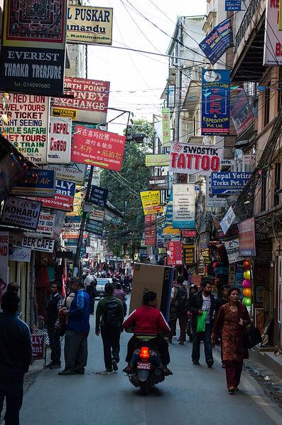 Thamel Marg street in Kathmandu, Nepal