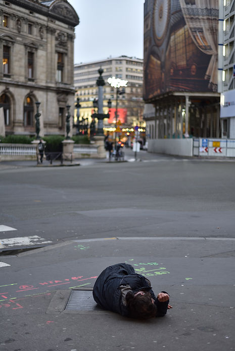 Homeless man on a street in Paris, France