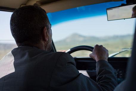 a taxi driver in Gobustan, Azerbaijan