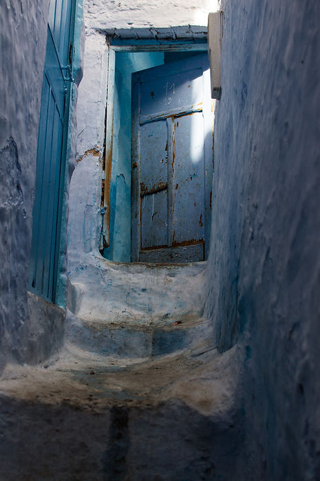 blue stairs in Chefchaouen, Morocco