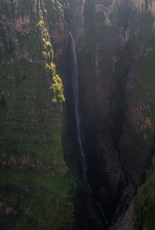 Jinbar waterfall in the Ethiopian Simien Mountains