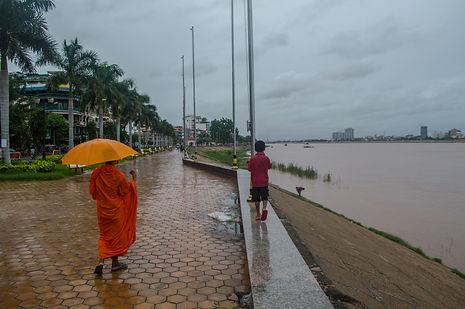 Mekong river and promenade in Phnom Penh, Cambodia
