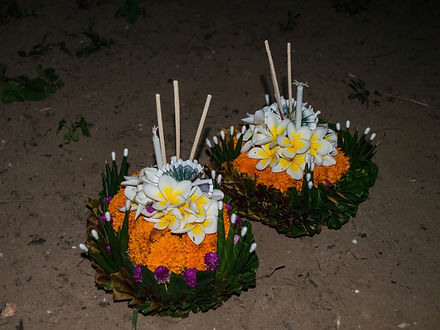 Floating candles by the Mekong river for the Boun Lai Heua Fai lantern festival in Luang Prabang, Laos