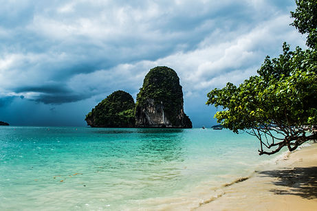 Lime stone formations at Phra Nang Railay Beach in Thailand's Krabi region