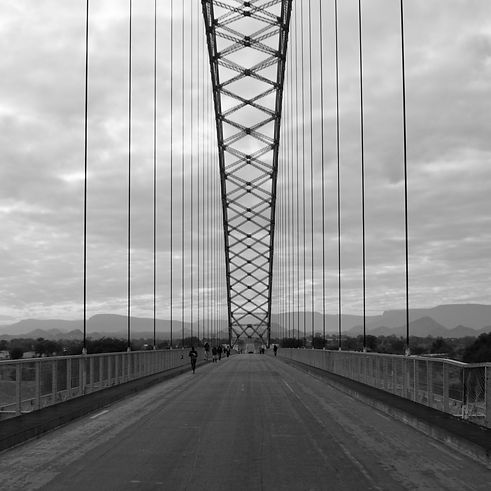 Black and white landscape photo of bridge with wires in Zimbabwe