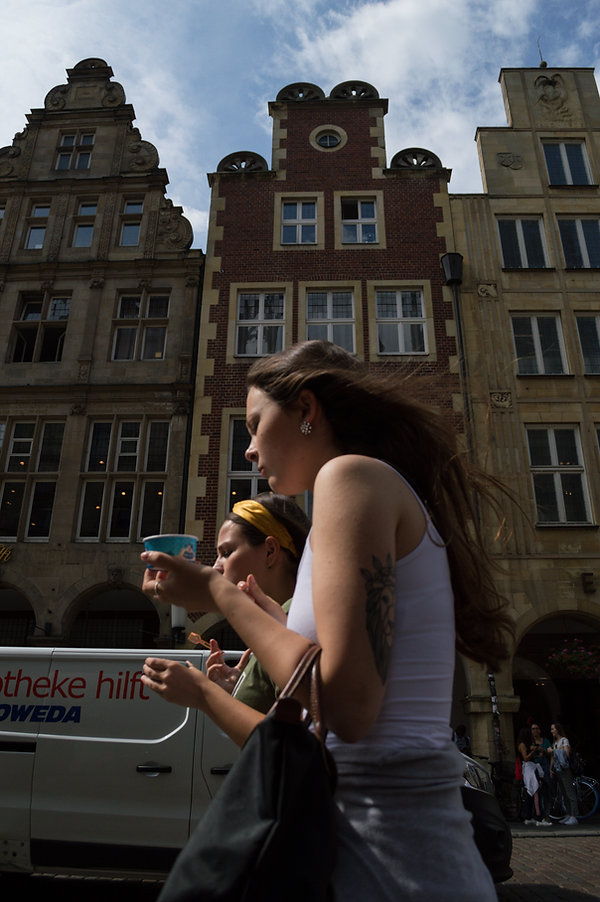 Eating ice cream in the streets of Münster, Germany