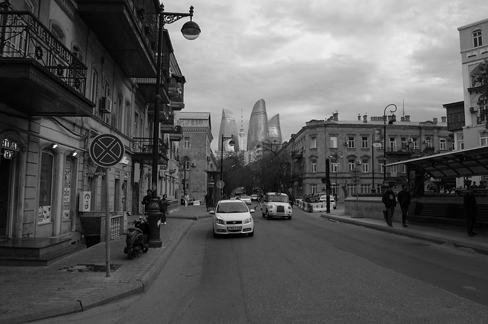 Black and white image of a cab in Baku, Azerbaijan.