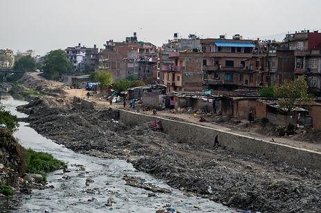 river and garbage in Kathmandu, Nepal