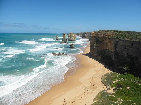 View onto Twelve Apostles along the Great Ocean Road in Australia