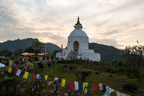 a stupa in the mountains around Pokhara, Nepal