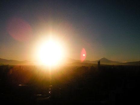 Sun rising over Mexico City