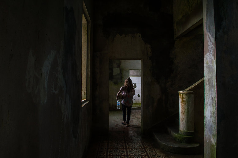Inside an abandoned house at Bokor Hill Station in Cambodia
