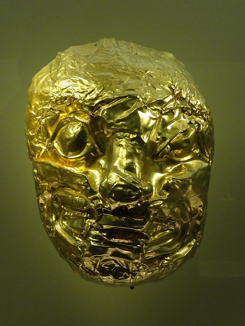 Gold mask at museum in Bogotá, Colombia