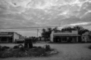 Black and white landscape photo of town in Zimbabwe