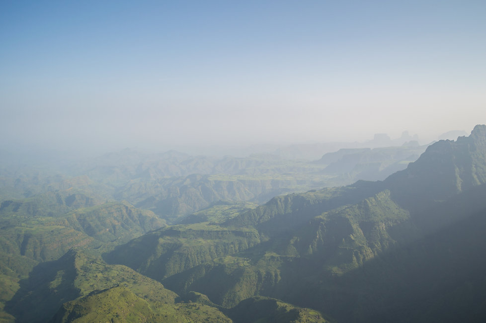 Simien Mountains, Ethiopia covered in fine mist