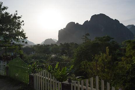 Limestone formations in Vang Vieng, Laos