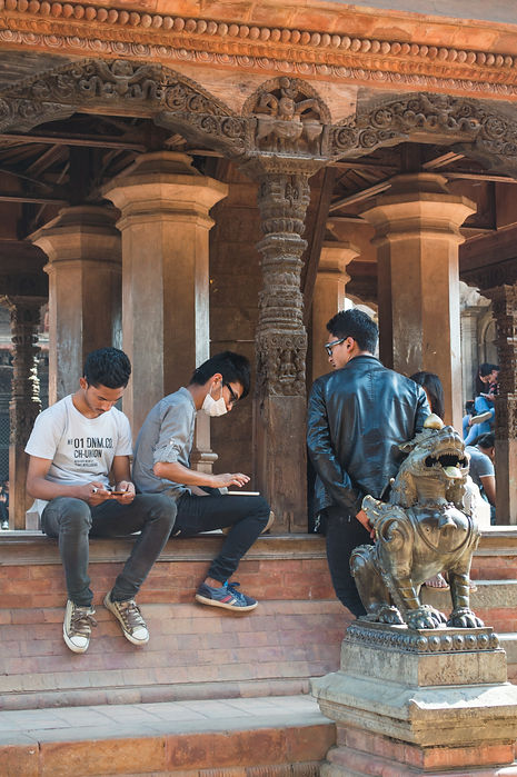 Nepalese youth at a temple in Bhaktapur