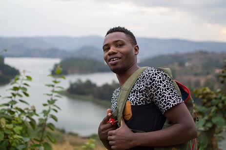 Young man at Lake Bunyonyi in Uganda