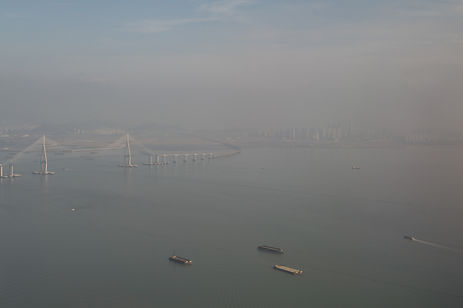 Aerial photo of Seoul and the sea with smog