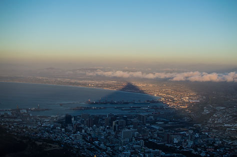Sunset shadow of Lion's Head over Cape Town, South Africa