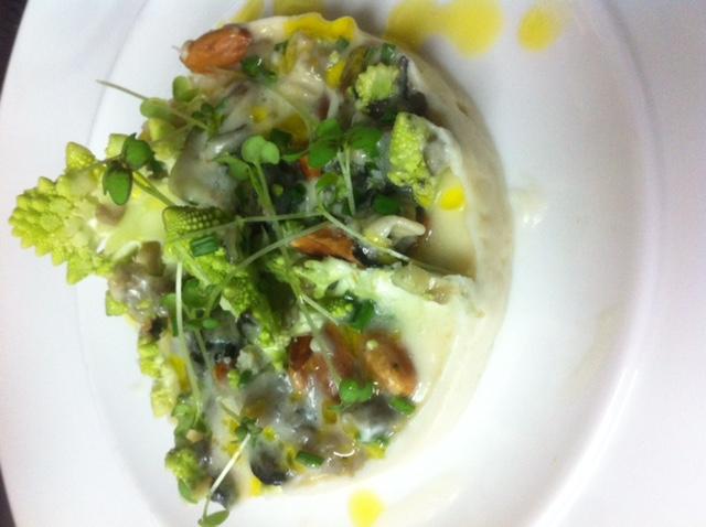 Escargots bio, crème de patisson