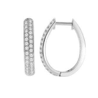 DIAMOND OVAL SHAPED PAVE HOOP EARRINGS
