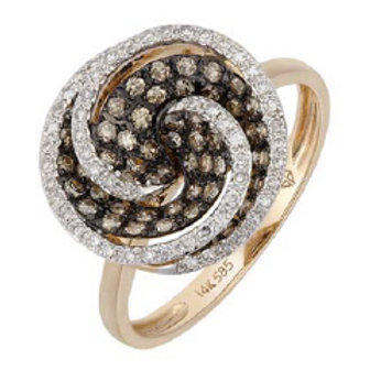 BROWN & WHITE DIAMOND ROUND SWIRL RING