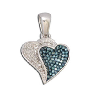 BLUE & WHITE DIAMOND DOUBLE HEART PENDANT