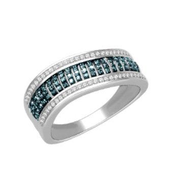 BLUE & WHITE DIAMOND WAVE RING