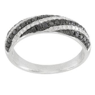 BLACK & WHITE DIAMOND SWIRL RING