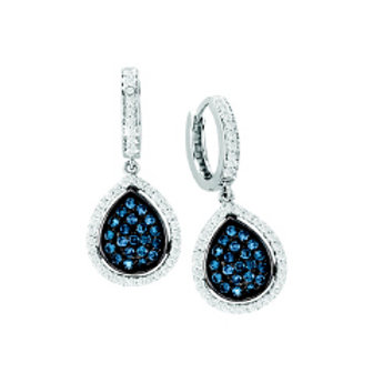 BLUE & WHITE DIAMOND PAVE PEAR SHAPED EARRING