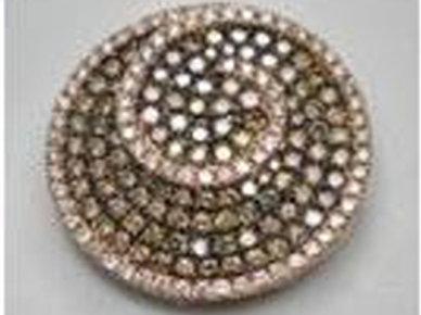 BROWN & WHITE DIAMOND SWIRL ROUND PENDANT