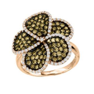 BROWN & WHITE DIAMOND SWIRL FLOWER RING