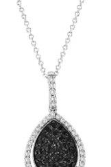 BLACK & WHITE DIAMOND PAVE PEAR SHAPED PEND.