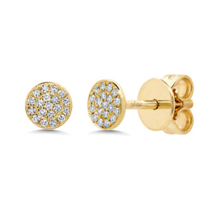 Yellow Gold Diamond Pave Stud Earring