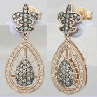 BROWN & WHITE DIAMOND DROP EARRINGS