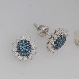 BLUE & WHITE DIAMOND OVAL PAVE EARRINGS