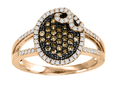 BROWN & WHITE DIAMOND PAVE OVAL SHAPED RING