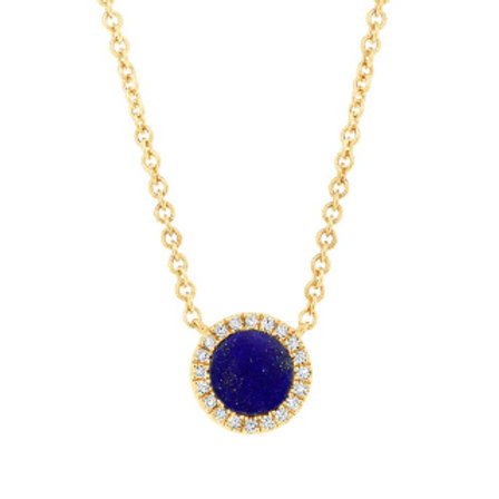 0.04ct Diamond & 0.33ct Lapis 14k Yellow Gold Necklace