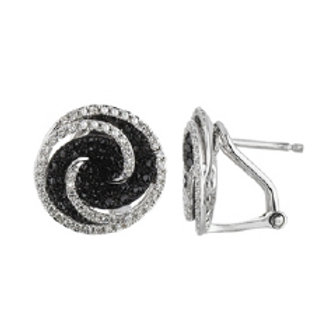 BLACK & WHITE DIAMOND ROUND SWIRL EARRINGS