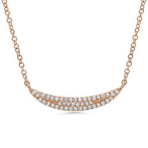 0.11ct 14k Rose Gold Diamond Pave Crescent Necklace