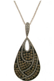 BROWN & WHITE DIAMOND LARGE PEAR DROP PENDANT