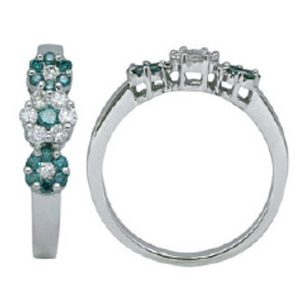 BLUE & WHITE DIAMOND 3 FLOWER RING