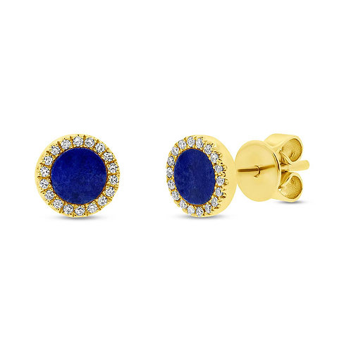 0.08ct Diamond & 0.51ct Lapis 14k Yellow Gold Stud Earring