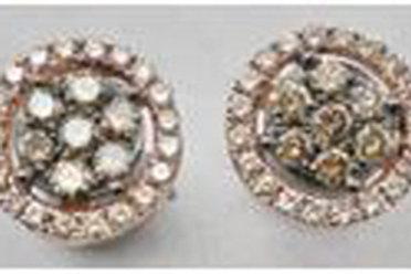 BROWN & WHITE DIAMOND ROUND PAVE EARRINGS