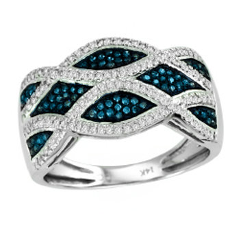 BLUE & WHITE DIAMOND WAVE RING